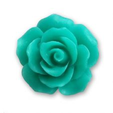 18mm Teal Green Resin Rose Bloom Cabochon